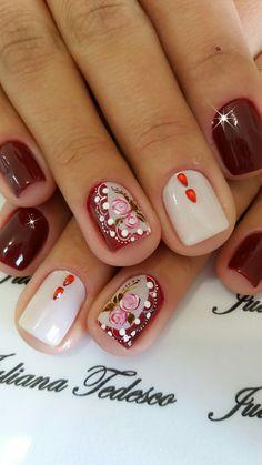 Unhas decoradas com vintage floral The Art Of Nails, Colorful Nail Art, Nail Arts, Nail Tech, Vintage Floral, Flower Designs, Nail Designs, Nail Polish, Diana