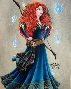 Merida [feat. Will O' The Wisps (x6)] (Drawing by MaxxStephen @Instagram) #Brave