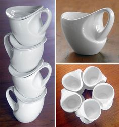 Curvy coffee cups from David Pier. Dishwasher & microwave safe.