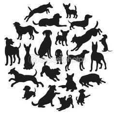 Conjunto de silueta de perros. Colección de silueta de vector en círculo. Diseño vectorial hermosa — Vector de stock #89642976