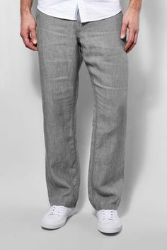 Chalk Tailored Fit Linen Trousers