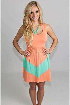Peachy Keen Chevron Dress