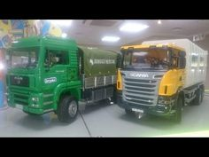 Bruder Scania Green Garbage Truck and bruder yellow garbage truck in the...