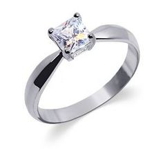Sterling Silver Womens Band Princess Cut Cubic Zirconia Solitaire