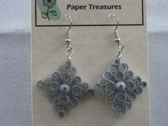 Lacy Diamond Earrings by QuillPaperTreasures on Etsy