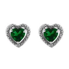 Diamond Jewelry | Diamond Emerald Heart Shaped Stud White Gold Earrings