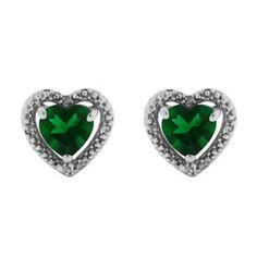Diamond Jewelry | Diamond Emerald Heart Shaped Stud White Gold Earrings
