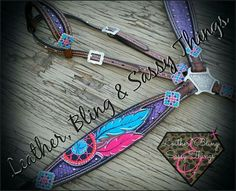 Find me on FB for hand painted horse tack, muletape/noseband halters,  Rope cans, leather, bronc nosebands, belts, witherstraps, headstalls, hats, caps, tack sets and more.. #barrel racing, #horsetack, #leather