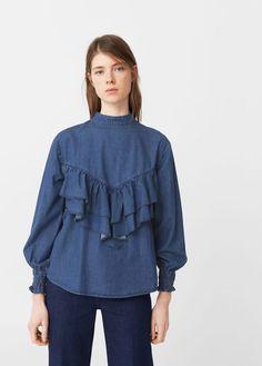 Frilled denim shirt | MANGO