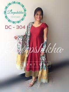 DC - 304For queries kindly inbox orEmail - deepshikhacreations@gmail.com Whatsapp / Call - +919059683293 26 October 2016 Kalamkari Designs, Salwar Designs, Kurti Designs Party Wear, Anarkali Frock, Designer Anarkali Dresses, Designer Dresses, Saree Gown, Indian Attire, Indian Outfits