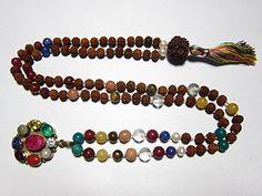 Yoga Mala- Meditation Mala Rudraksha with Navrgraha Yantra Pendant Meditation Mala Necklace 108 Beads Mogul Interior