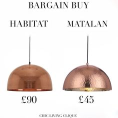 Bargain Buy: Hammered Copper Pendant Light – Chic Living Clique Copper Pendant Lights, Copper Lighting, Timber House, Matalan, Hammered Copper, Castle, Ceiling Lights, Contemporary, Chic