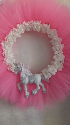 Buy Unicorn wreath hanging decoration handmade from Tulle. Handmade by creative people crafting through DISABILITIES, CHRONIC ILLNESS or are CARERS