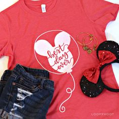 Best Day Ever Balloon T-shirt in Heather Red or Teal Disney