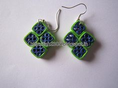 Handmade Jewelry - Paper Quilling Diamond Shape Earrings (1)