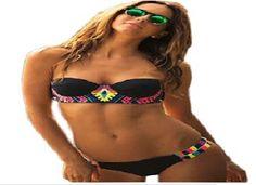 Women's Sexy Black Push Up Print halter bathing Beachwear Bikinis Sets Biquini Swimsuits Suits Tankini swimwear Clothes 2017 Bikini Push Up, Bandeau Bikini Set, Haut Bikini, Bikini Swimwear, Swimsuits, Bikinis, Bandeau Tops, Black Bikini, Short Hair
