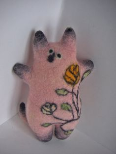 Felted cat toy Art toy Wool cat Rosalie Ecofriendly by seikashop, 32.00
