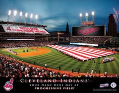 "Cleveland Indians MLB Baseball - Personalized Cleveland Indians Stadium Card Sports Print / Picture. Show everyone your ""Special"" MLB Stadium Event"" and imagine YOUR NAME being displayed by fans during half-time! This exciting gift is perfect for any MLB Baseball fan. Optional framing with mat is available. Perfect for gifts, rec room, man cave, bar, office, etc.  (http://www.oakhousesportsprints.com/cleveland-indians-stadium-card-sports-print/)"