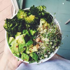 onehappyvegan: Steamed broccoli, avocado, & sprouts. Drizzled with olive oil and red pepper flakes.