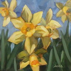 """Side Yard Daffodils"" - 6"" x 6"" oil painting by artist Elaine Juska Joseph SOLD #floral #flowers # Daffodils #art"