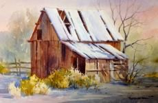 Snow Barn , Watercolor Painting of a Snow Scene - Watercolor Paintings by Roland Lee Mais Watercolor Barns, Art Watercolor, Watercolor Landscape, Landscape Art, Watercolor Pictures, Watercolour Paintings, Watercolour Tutorials, Watercolor Techniques, Monuments