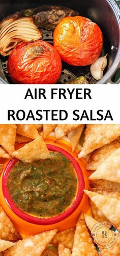 Air Fryer Roasted Salsa is loaded with delicious tomatoes, onions, garlic, jalapeno and cilantro. Comes together in just 20 minutes! Air Fryer Recipes Appetizers, Air Fryer Recipes Vegetarian, Air Fryer Recipes Low Carb, Air Fryer Recipes Breakfast, Air Fryer Dinner Recipes, Healthy Recipes, Easy Recipes, Soup Appetizers, Snacks Recipes