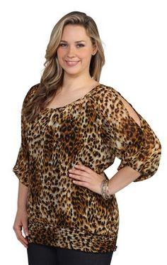plus size cheetah print top with smocked bottom