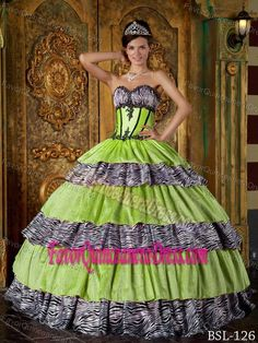 58355fa640 Pretty Lime Green Sweetheart Quinceanera Dresses with Zebra and Ruffles  Sweet Sixteen Dresses