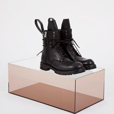 Explore latest Men's accessories from Rick Owens featuring Long Chunky Leather Lace-up Boots - shop online at #LNCC search ric0124027blk #RickOwens @rickowensonline by thelncc