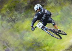 oil painting Mountain bike Экстремал 50х70