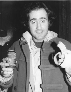 A very typical Andy Kaufman moment: Beautiful smile with apple juice and a half-eaten banana. ❤️