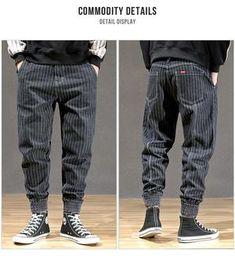 Harem Pants Men, Mens Jogger Pants, Cargo Pants, Vertical Striped Shirt, Striped Jeans, Sweatpants Style, Joggers Outfit, Fishnet Outfit, Ripped Jeans Men