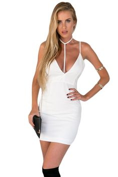 02458249886 White Backless T-bar Design Sexy Hem Bodycon Dress. Club OutfitsRave Outfits Fashion OutfitsWomens FashionTop ...