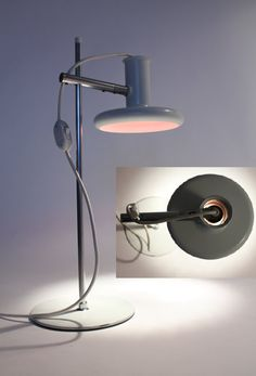 Optima lamp by Fog & Morup, design Hans Due 1972. Steel. H 56 cm, shade dia. 20 cm.