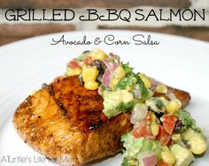 Grilled BBQ Salmon with Avocado  - Yum!