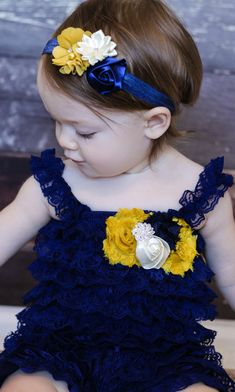 Baby headband, Navy mustard yellow Shabby Headband, Shabby Chic headband, Baby h. How To Make Headbands, Making Hair Bows, How To Make Hair, Toddler Headbands, Baby Girl Headbands, Diy Hairstyles, Wedding Hairstyles, Shabby Chic Headbands, Handmade Hair Bows