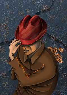 """Gentelman"" illustration / flowers / hat / man Hats For Men, Master Chief, Illustration, Flowers, Fictional Characters, Art, Art Background, Kunst, Illustrations"