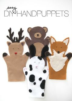 DIY Felt Hand Puppets - cute favor for child birthday party, zoo benefit and other animal themed parties