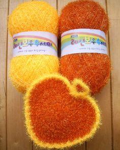 Scrubber & Scrubber Yarn: Heart-shaped Dish Scrubbies