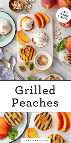 Easy grilled peaches are the ULTIMATE summer dessert! Juicy, tender, and sweet, they're delicious with a scoop of vanilla ice cream. Plus, they come together in minutes! | Love and Lemons #grillingrecipes #desserts #peaches #grilledpeaches Grilling Recipes, Cooking Recipes, Healthy Recipes, Healthy Desserts, Dessert Recipes, Healthy Treats, Dessert Ideas, Brunch Recipes, Bread Recipes
