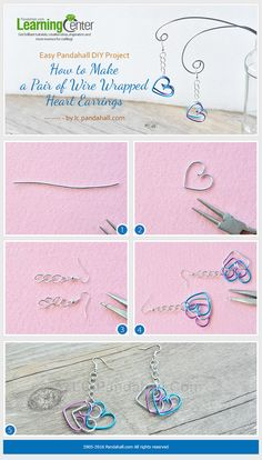 Easy Pandahall DIY Project - How to Make a Pair of Wire Wrapped Heart Earrings for Beginners from LC.Pandahall.com