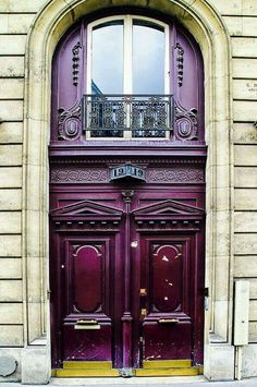 An elegant Parisian entryway, Number 19 In Paris. A beautifully ornate and grand red brown door in Paris, France. Cool Doors, Unique Doors, The Doors, Windows And Doors, Front Doors, Door Entryway, Entrance Doors, Doorway, Grand Entrance