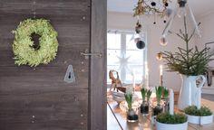krans på grånad dörr, dukat julbord FOTO HELENA BLOM