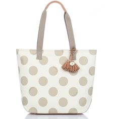Brahmin Frankie Polka Dot Tote ($295) ❤ liked on Polyvore featuring bags, handbags, tote bags, purses, leather hand bags, leather tote bags, leather tote, brahmin tote and genuine leather tote