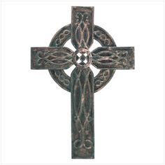 This beautifully carved Celtic cross is rendered in an ornate antique faux-verdigris finish.
