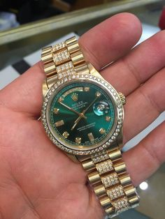 Rolex Mens President Yellow Gold Green Diamond Dial & Bezel & Band