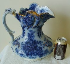Wood and Sons very rare flow blue basin pitcher wash set - 1900 | eBay