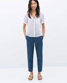 Denim Chino Trousers :: $49.90 from Zara