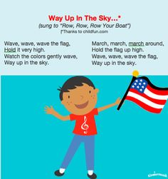 4th of July activities for young children, including Independence Day songs
