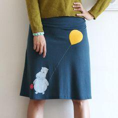 Handmade Applique Skirt  Teal Blue Knee Length A line by ZoeChen, $54.00